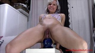 AAARRRGGHH!!! Huge dildo in her butt Masturbation
