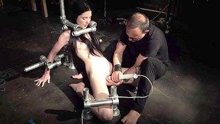 Bondage Teen in Hard BDSM punishment in creepy sex dungeon