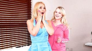 Good-looking chicks Sarah Vandella and Lily Rader fuck on the sofa