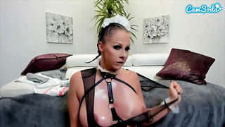 Naughty woman is toying her pussy after shaving it, while wearing a sexy maid costume