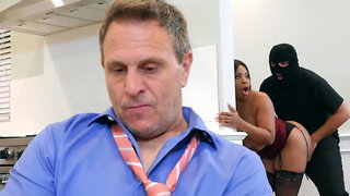 Ebony wife gets fucked by robber behind the husband's back