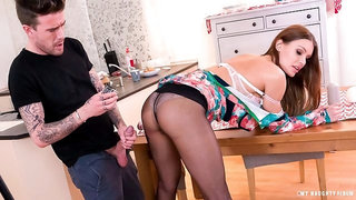 Luscious busty Czech Kitana Lure fucks photographer on the kitchen table