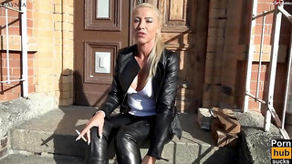 Shameless german jizz junkie smokes in leather