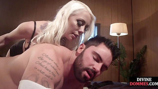 Busty domina whipping slave before pegging