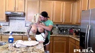 Puba - Busty blonde maid Lolly receives a creampie in the kitchen