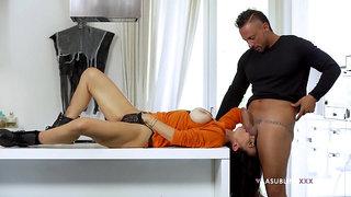 Stacked Priscilla Salerno appreciates this gent's rough approach