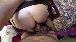 Cock Sucking, Anal Beads and a Hard Cock in My Juicy Mature Ass - Creampie
