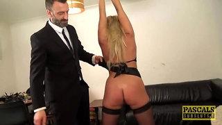 British skank Sasha Steele throated and fucked rough in ass