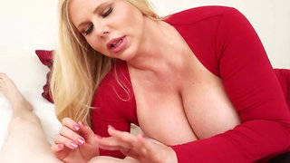 Big-chested Karen Fisher's slow and sensual POV handjob
