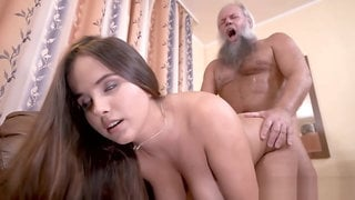 Ugly grandpa fucks a curvy beauty Olivia Nice