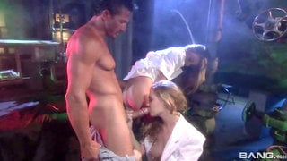 Denise Klarskov and Misty May double team a patient in a basement dungeon