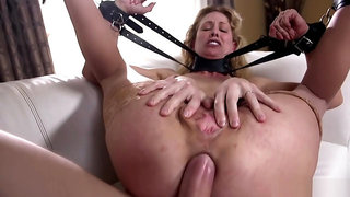 Strapped babe gets huge dick up her ass