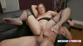 Sienna is a slutty woman who likes black fishnets and rock hard cocks, inside her