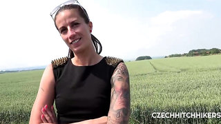 Czech brunette, Ali Bordeaux got fucked in the nature, in the middle of a nice day