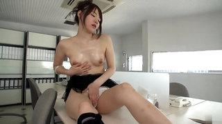 Gorgeous Yui Uehara having a wonderful time by Masturbating