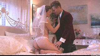 Smoking hot wife Ella Nova enjoys her wedding night and takes cum on hairy snatch