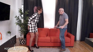 Voluptuous babe is eagerly fucking an elderly man because he is often giving her money