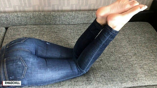 Cousin in Jeans Footjob and Cum Feet - Rmadchill