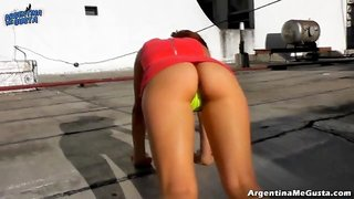 Extremely Hot Cameltoe and Ass in a Wicked Weasel G-String