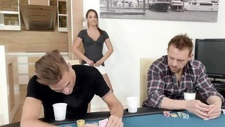 Nice teen chick takes all clothes off and stops the poker game