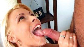 Pornstar Nikky Blond swallows tasty cum load