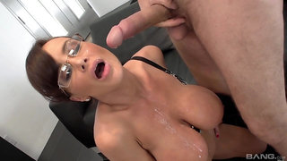 Mature ends her fuck session with cum soaking her big jugs