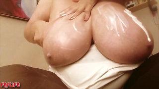 Webcam - BBW mature fondling her huge monster tits solo