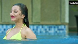 Hot indian in swimming pool
