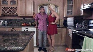 Bleach blonde milf in a pretty red dress fucking in her kitchen
