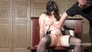 BBW slave is humiliated by master and fucked by machine