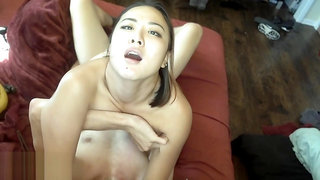 Asian Goddess THROATFUCK and passionate sex with White man