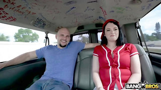 Brunette in a red shirt got fucked in the back of a van, until she came