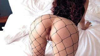 Cute Girlfriend In Fishnet Getting Fucked In Hotel Room