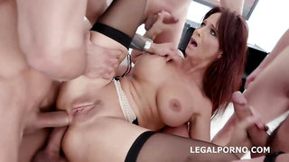 Syren De Mer is getting fucked balls deep during a steamy group sex adventure with many guys