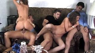 Yelena and Svetlana - XXXX - sofa + 3 boys