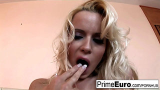 Blonde bombshell Cindy sucks and fucks in her red stockings