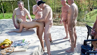 Multiple old men are fucking a lustful young babe Vinna Reed