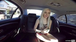 Cute chick in the back seat of his car takes a hard dick