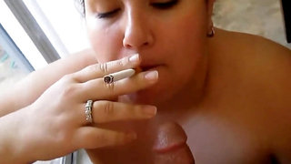 Chubby Milf Devouring A Cock While Smoking And Gets A Facial - POV