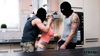 Male burglars both shock and excite Mea Melone and Mila Milan