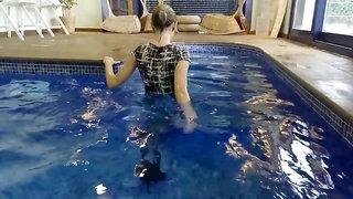Wetlook Dress and High Heels in pool