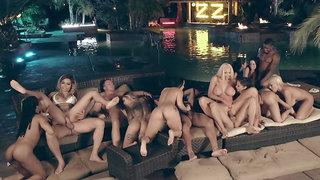 Huge outdoor orgy filled with tons of pornstar sluts