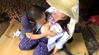 Mature Oriental wife with big tits is starving for hard meat