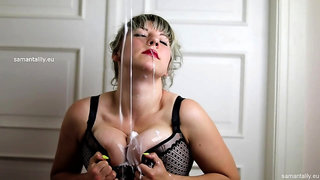 Samantha Lily - Striptease and dirty boob play on webcam