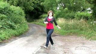 Sofia Matthews pees outside