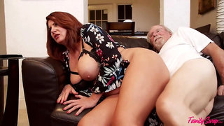 Red Haired Mature With Big Boobs Is Moaning While Getting Fucked During A Casual Orgy