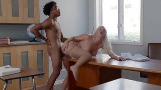 Blonde teacher London River gets fucked on her desk