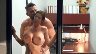 Busty secretary bends over that desk to receive boss's dick