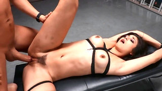 Girl is fucked by extremely strong dick in the BDSM basement