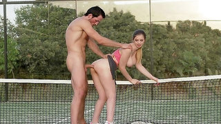 Busty teen enjoys a lot of dick on the tennis court